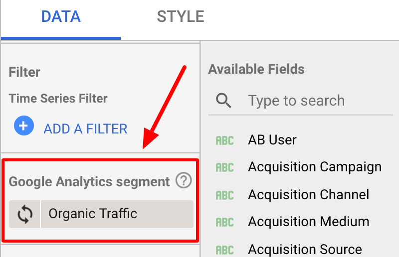 Google Data Studio: Choosing Google Analytics segment