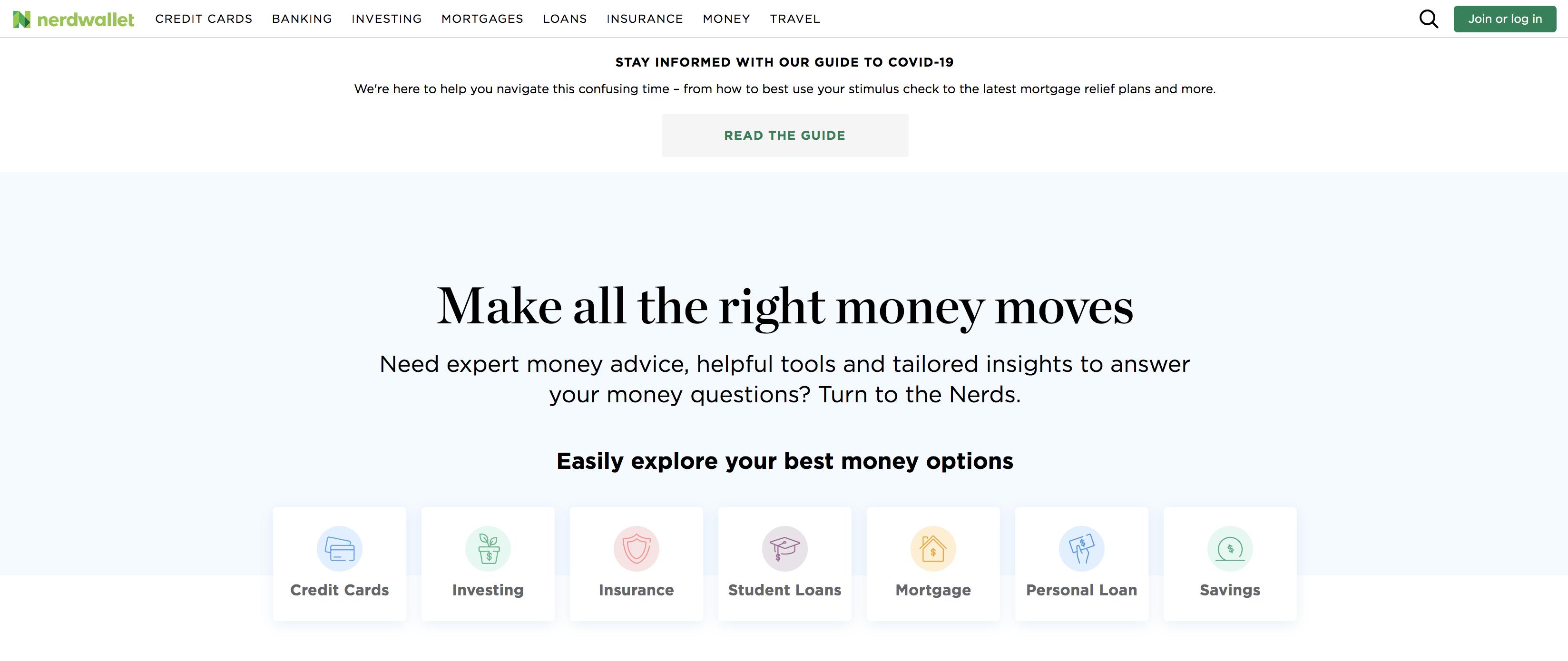 NerdWallet homepage screenshot