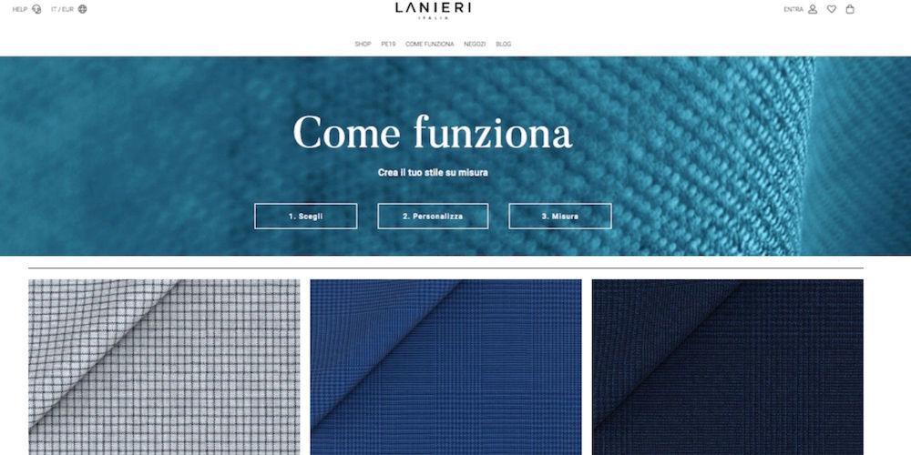 Lanieri permette al cliente di personalizzare il capo di abbigliamento