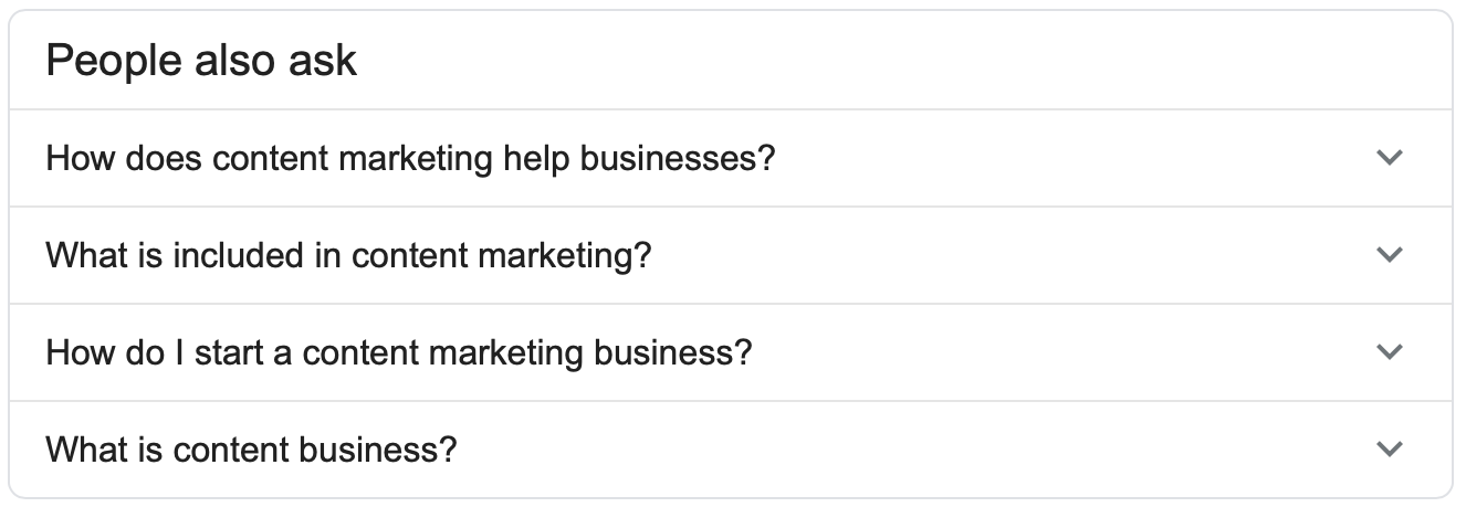 Finding long-tail keywords with Google's People Also Ask