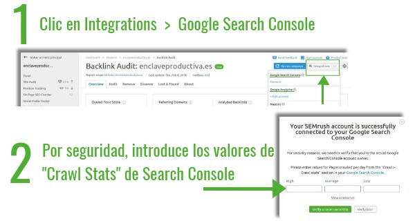 Conecta Analytics & Google search console & SEMrush - Backlink audit