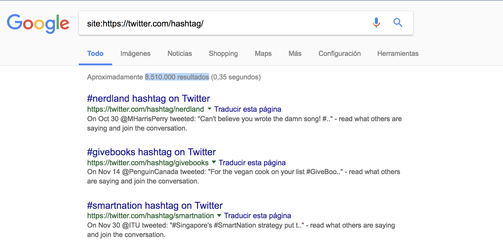 SEO en redes sociales - URLs indexadas en Google España