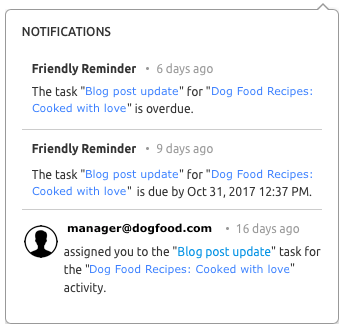 SEMrush Marketing Calendar notifications
