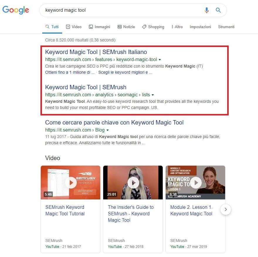 serp google keyword magic tool