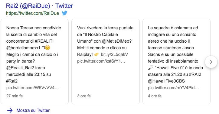 Un esempio di twitter card sulla serp di google