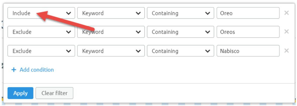 SEMrush multi-filtering option