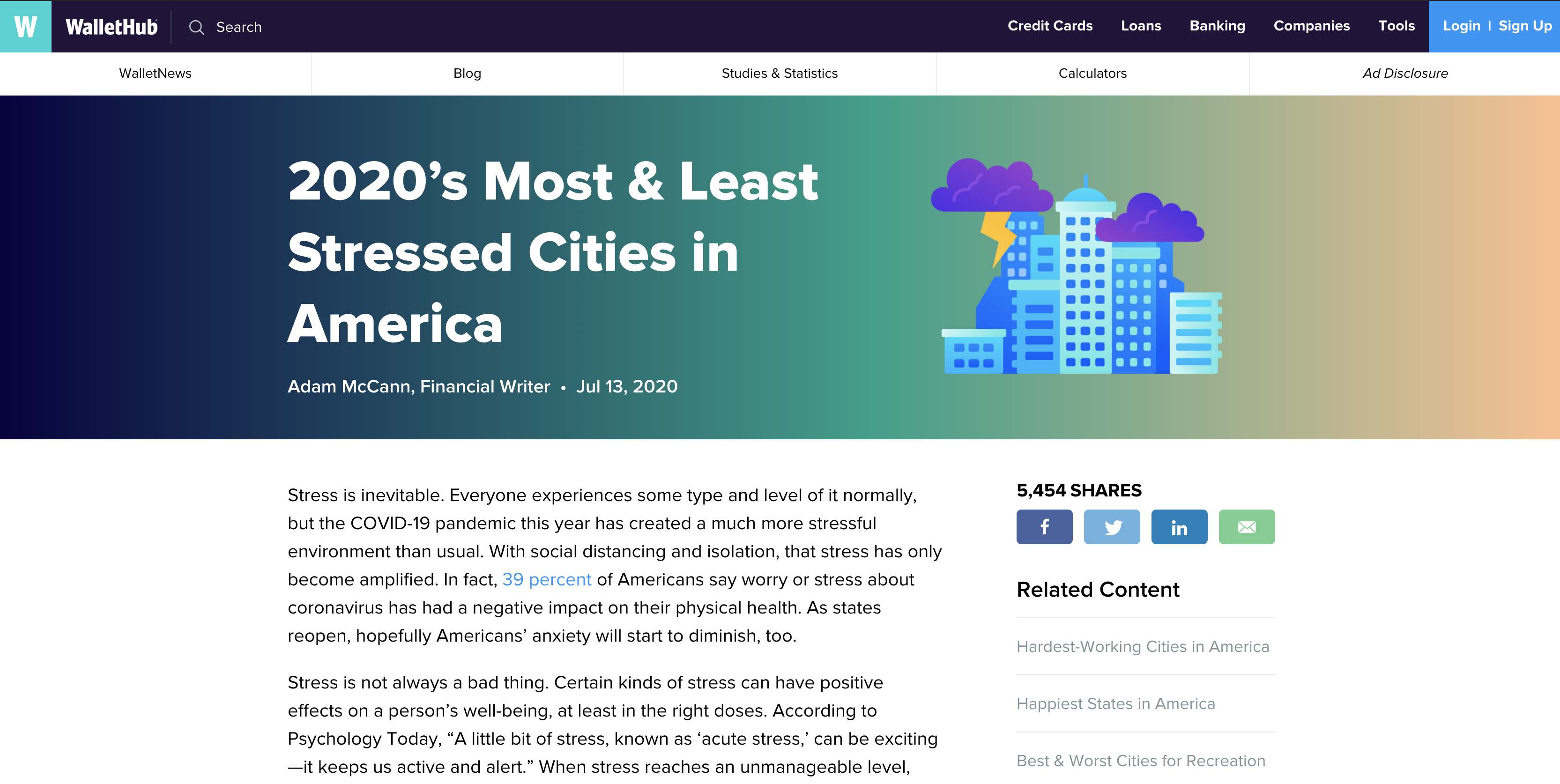 WalletHub stressed cities article screenshot