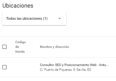Plan de acción SEO local - Ubicaciones
