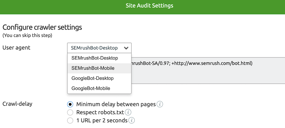 How to change the settings to mobile agent in SEMrush