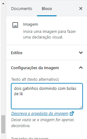 Campo do WP para adicionar alt text