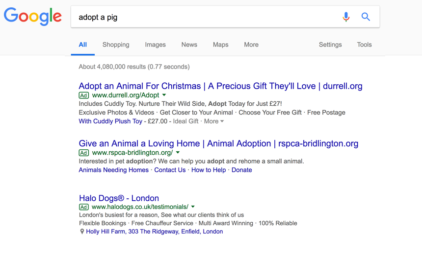 Search for adopt a pig, top three Google ads