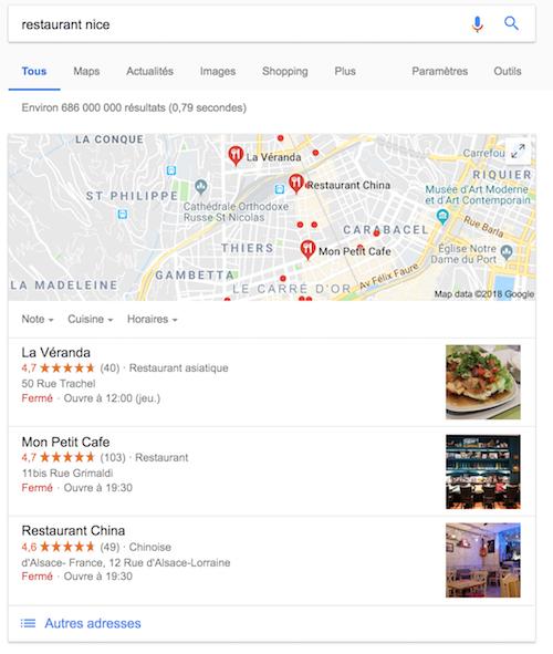 Affichage Google restaurant nice