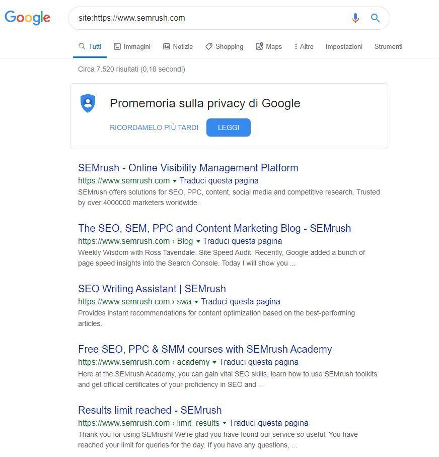 Operatore Google site: in azione per vedere i titoli delle pagine