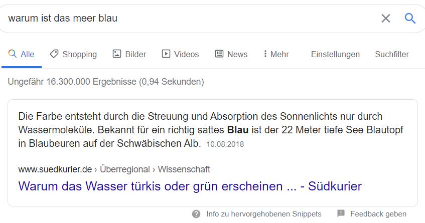 Kurze Antwort auf eine Frage bei Google
