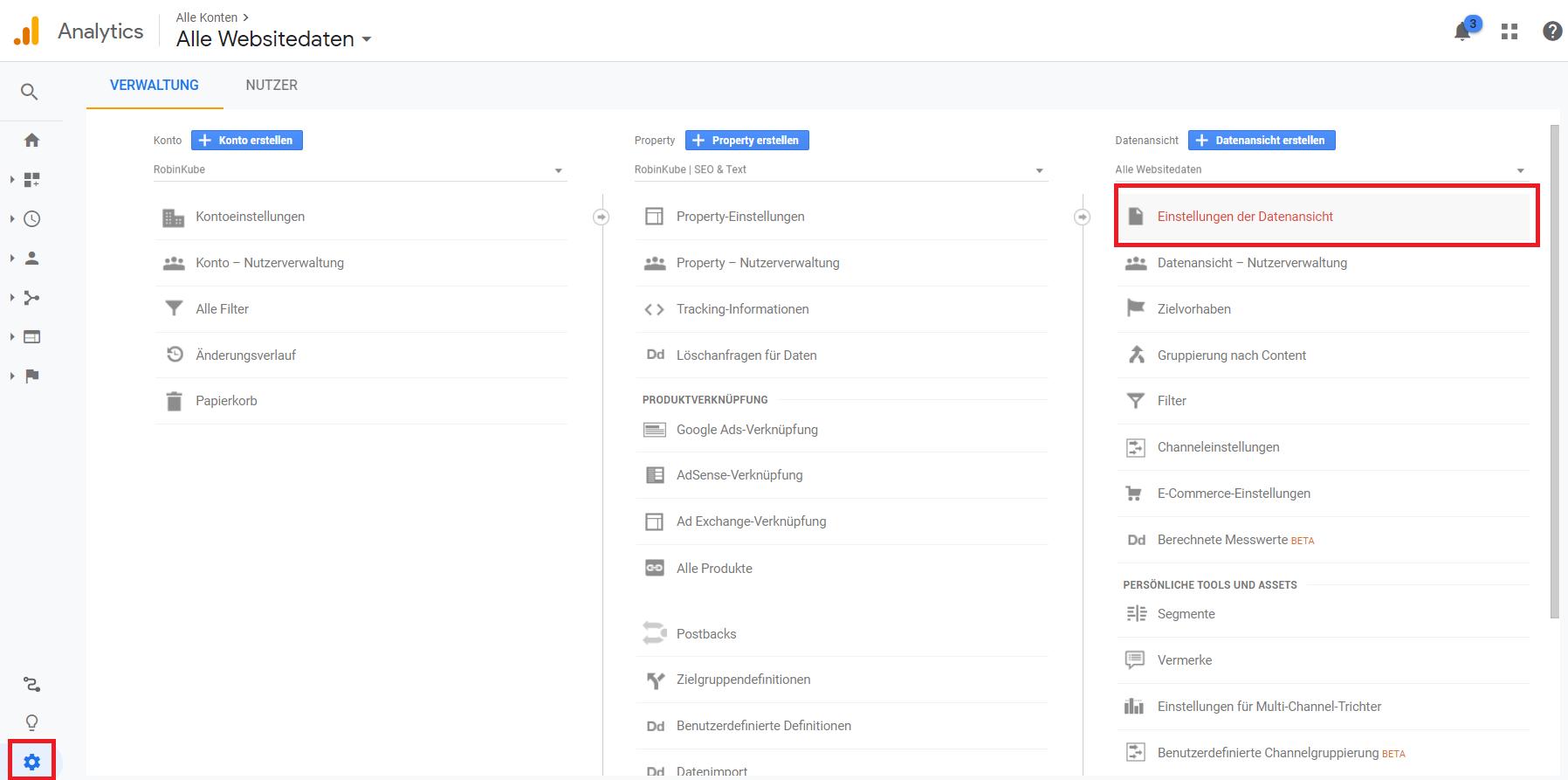 Google Analytics: Einstellungen der Datenansicht