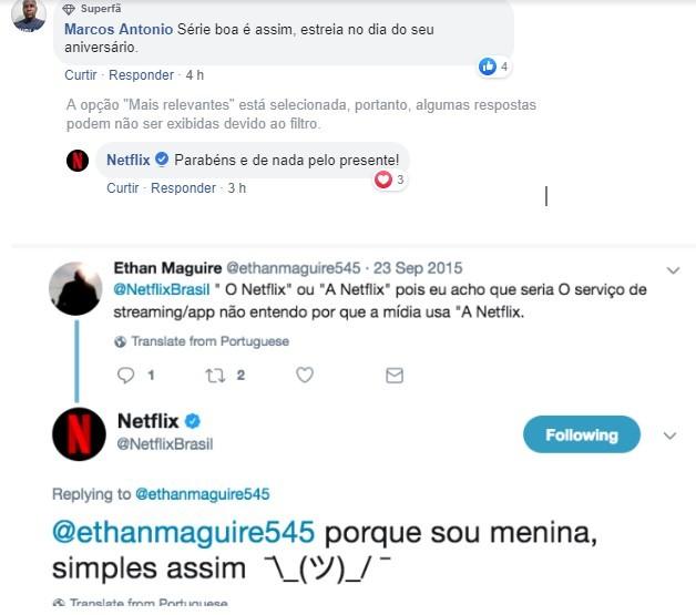 prints de telas de redes sociais com interações da Netflix