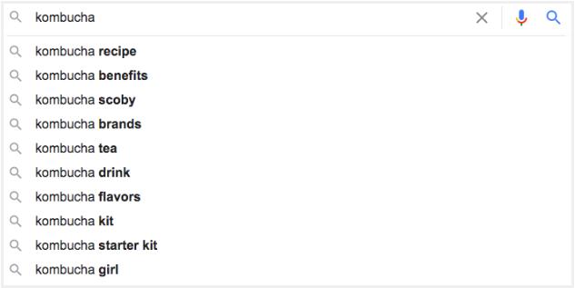 Example of google autosuggest for kombucha