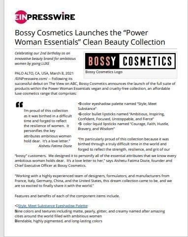 bossy cosmetics launch press release