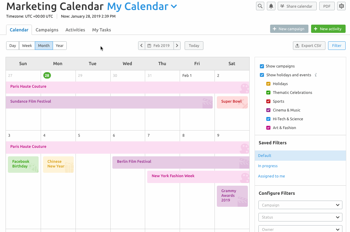 marketing calendar semrush