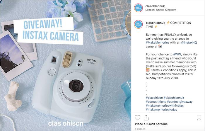 Come ha organizzato Clas Ohlson UK il suo giveaway su Instagram