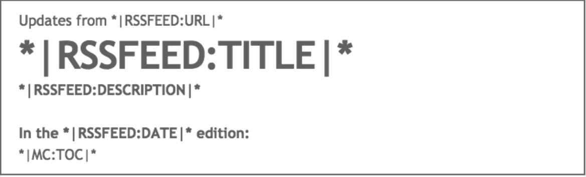 L'intestazione dell'header nella newsletter creata con MailChimp