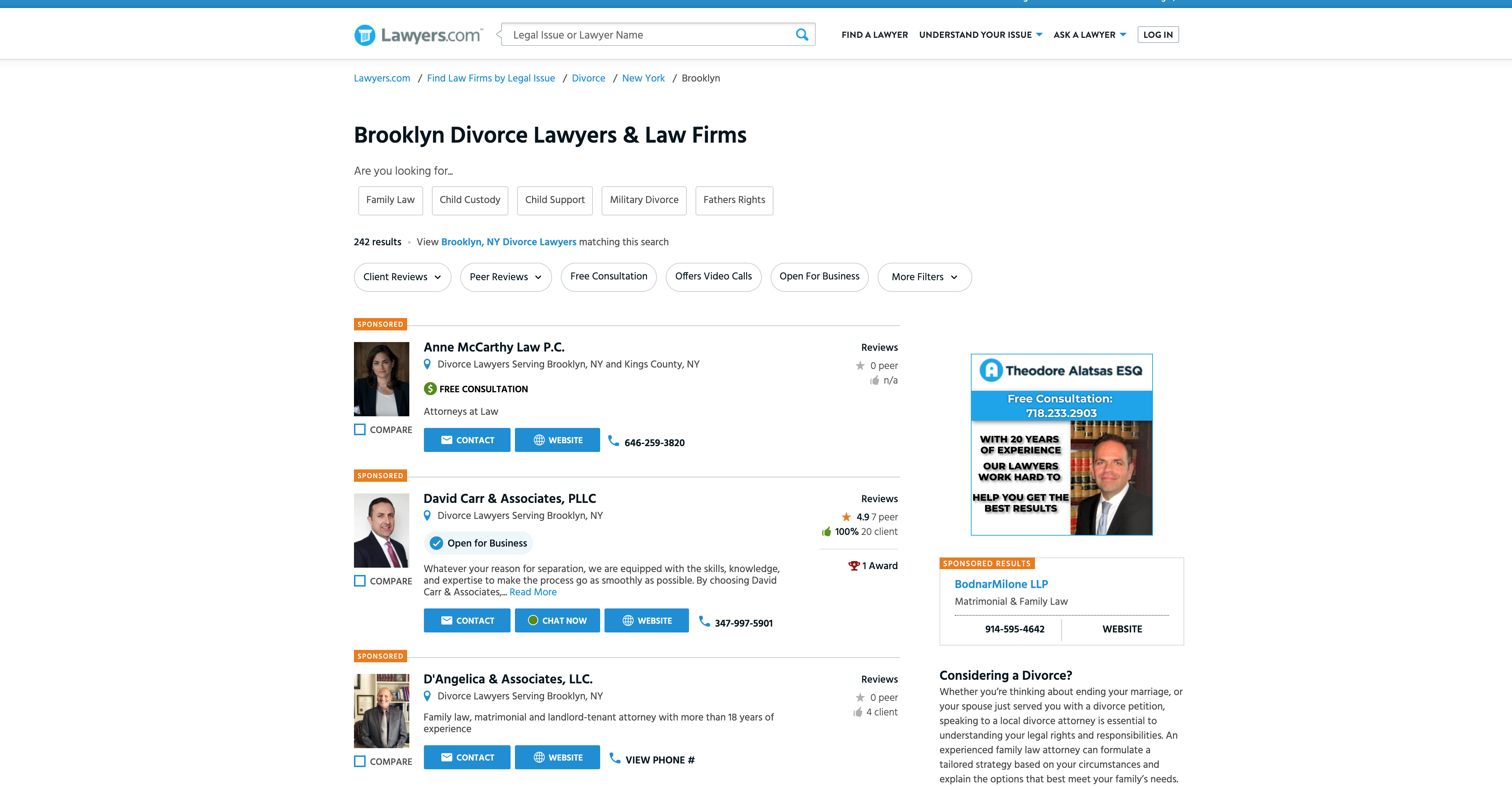 lawyer directory screenshot