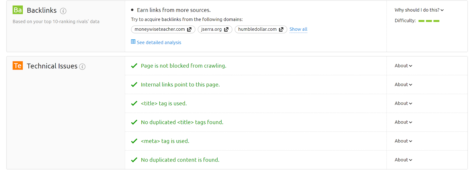 On Page SEO Checker screenshot