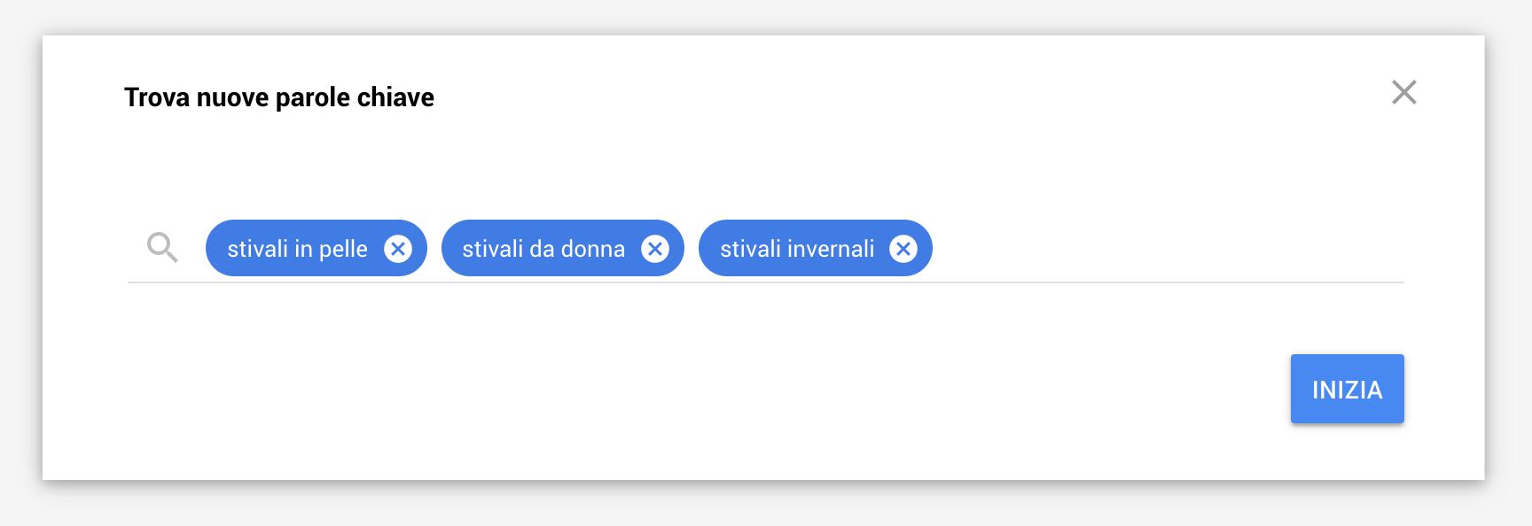Nuove parole chiave Google Ads