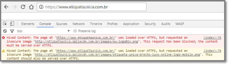 Inspecione a página através do console do navegador para encontrar os avisos
