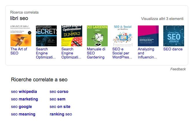 Keyword principale: un esmpio di correlazioni sulle serp di Google