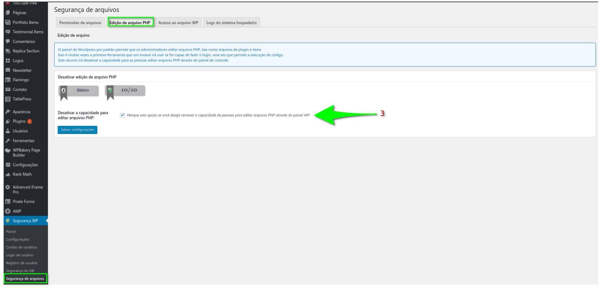 Edição de arquivo PHP - All in One WP Security