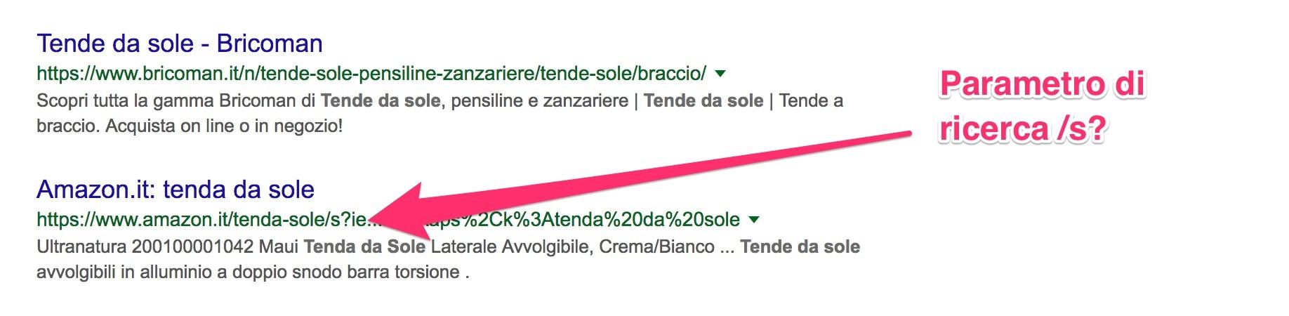 Posizionamento su Googl edelle pagine di AMazon con il parametro /s?