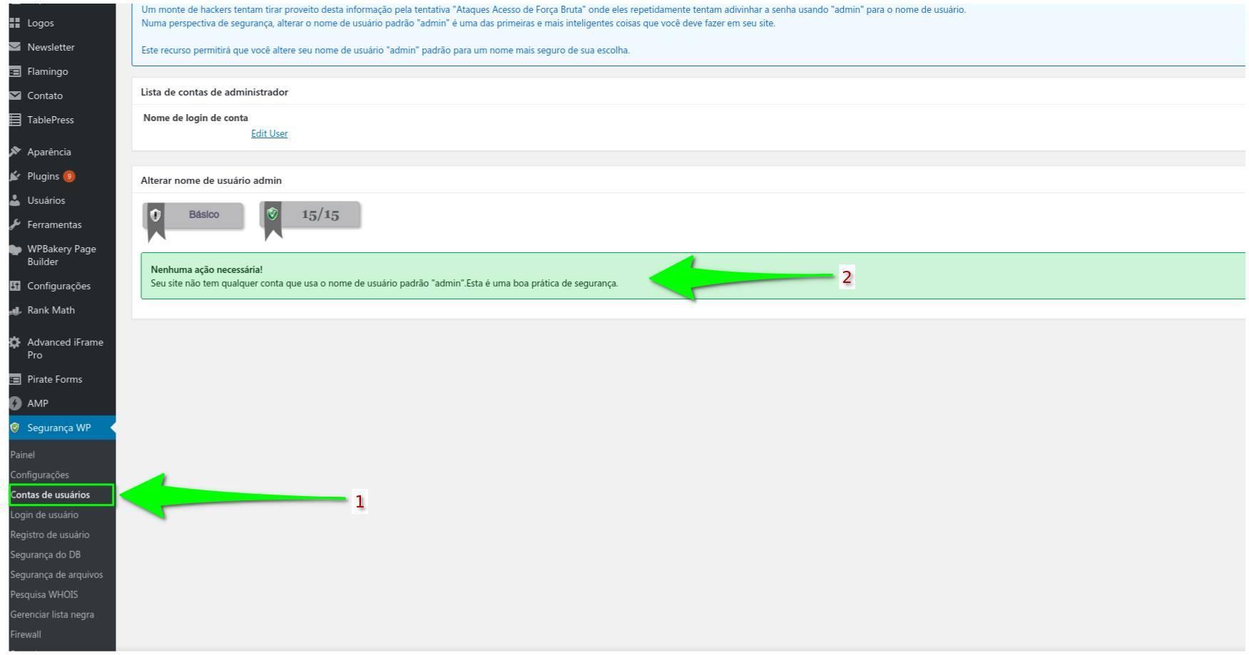 Contas de Usuários - All in One WP Security