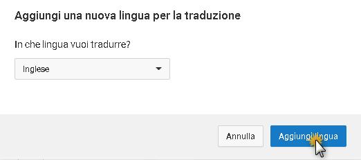 Aggiungi Lingua su youtube studio
