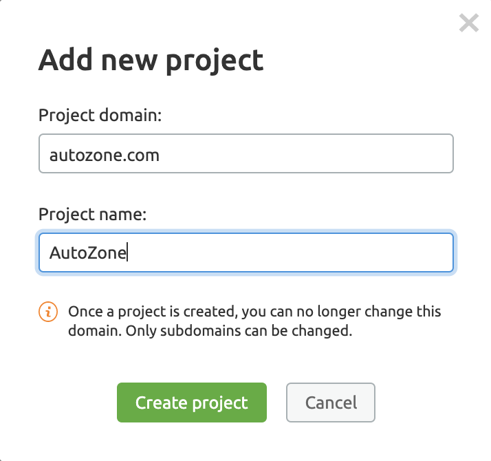 Showing how to add a new project to the Site Audit tool