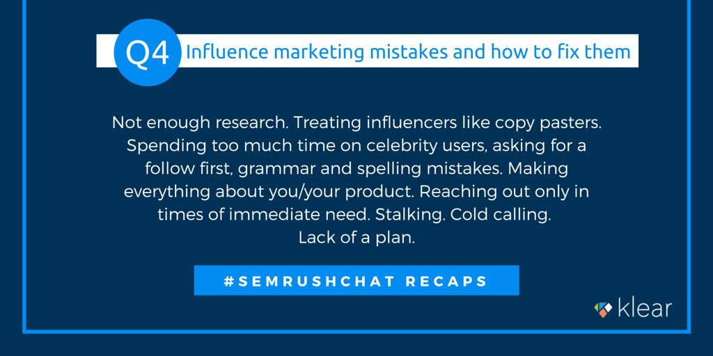 SEMrush chat - Influence marketing Q4