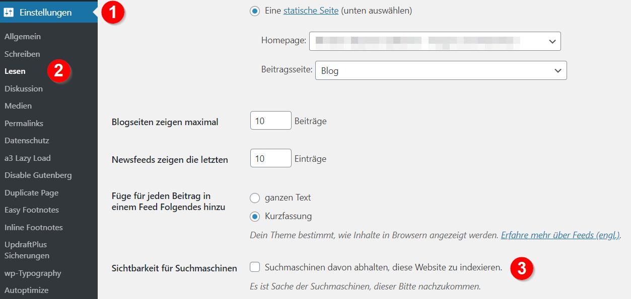 Suchmaschinen-Steuerung in WordPress