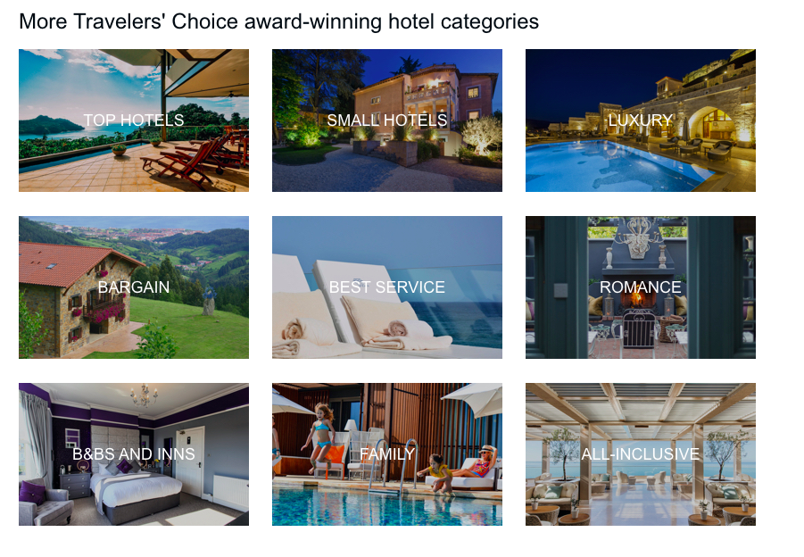 Screenshot of Trip Advisor's Top 25 Hotels — World list