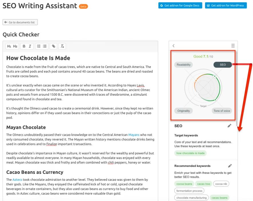 Novedades de SEMrush noviembre 2019 - SEO writing assistant funcionalidades