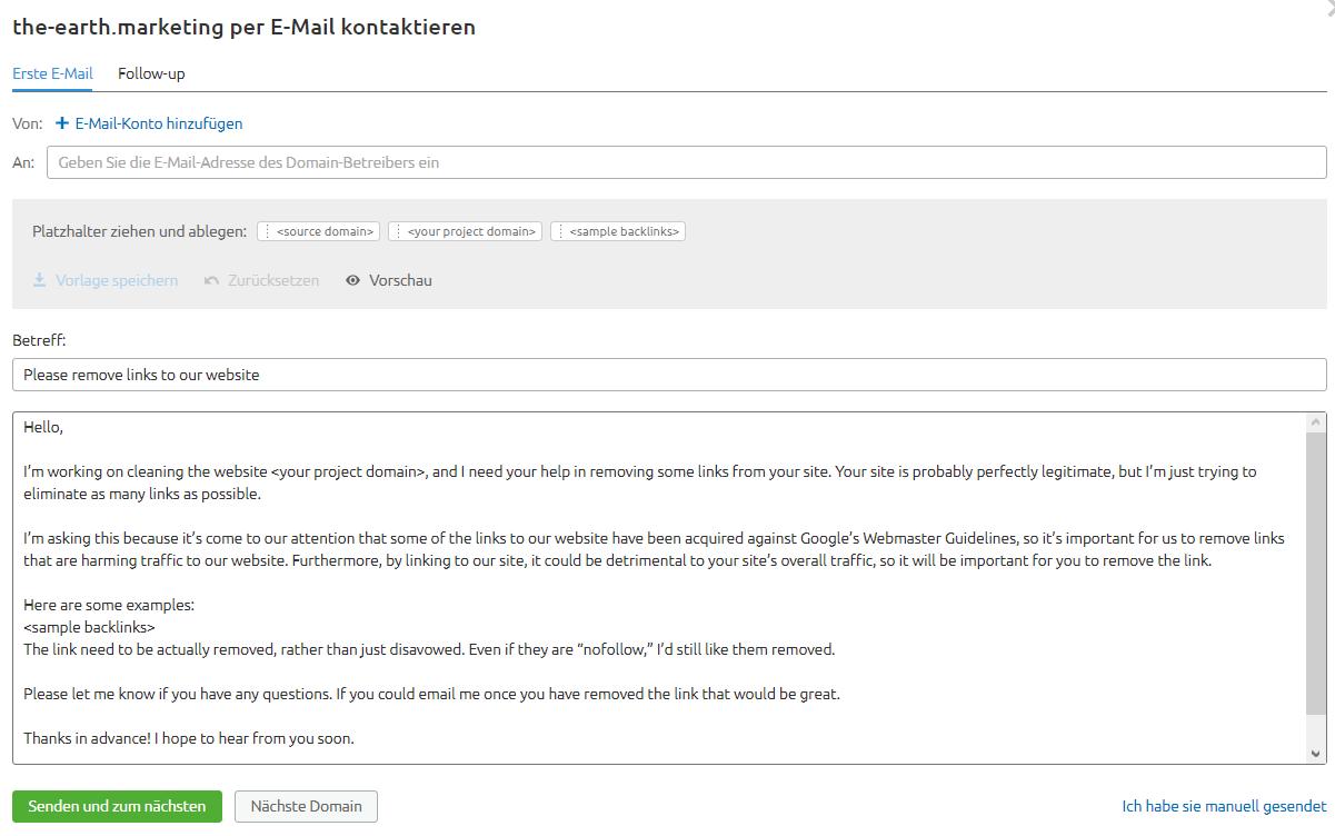 E-Mail-Versand über SEMrush