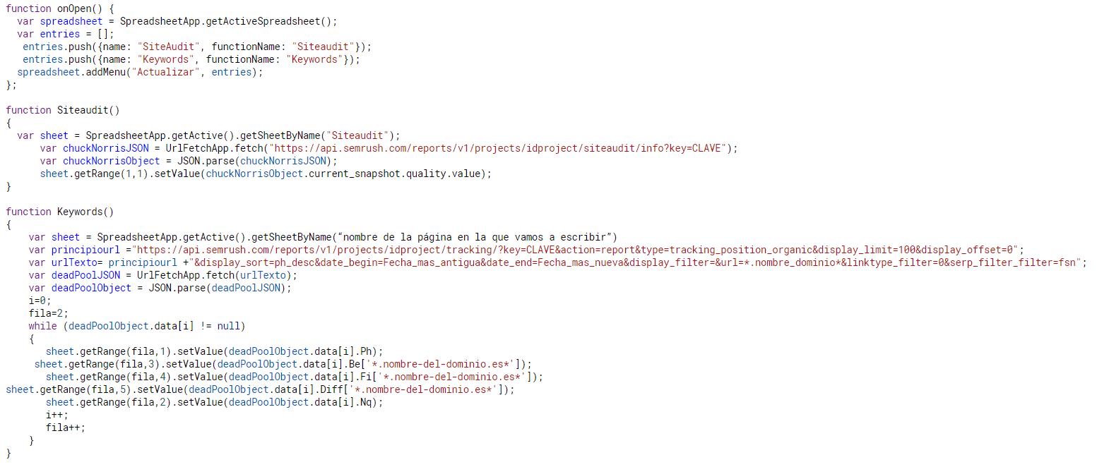 Conexión Api de SEMrush con apps scripts para spreadsheets