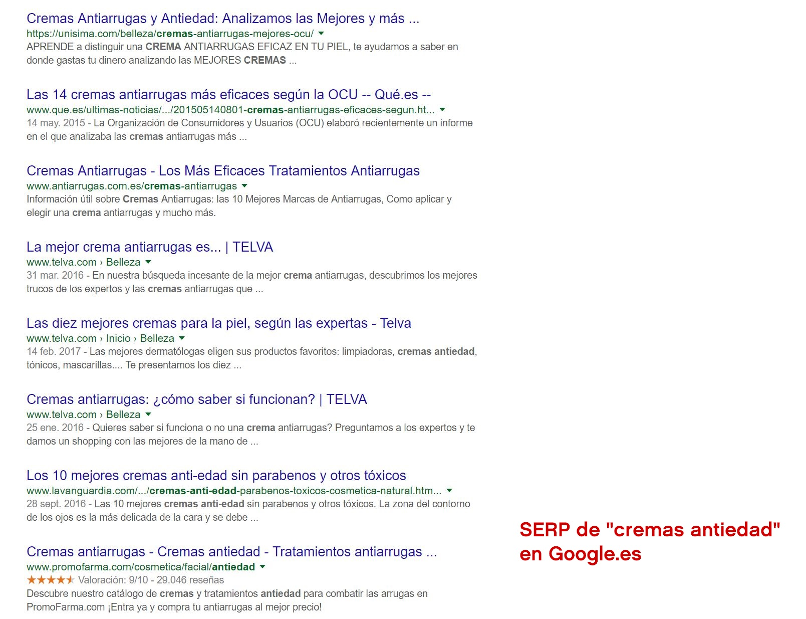 """SERP para la keyword """"crema antiedad"""" en Google.es"""