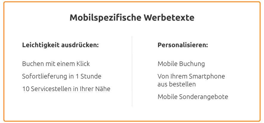 Mobilspezifische Anzeigentexte