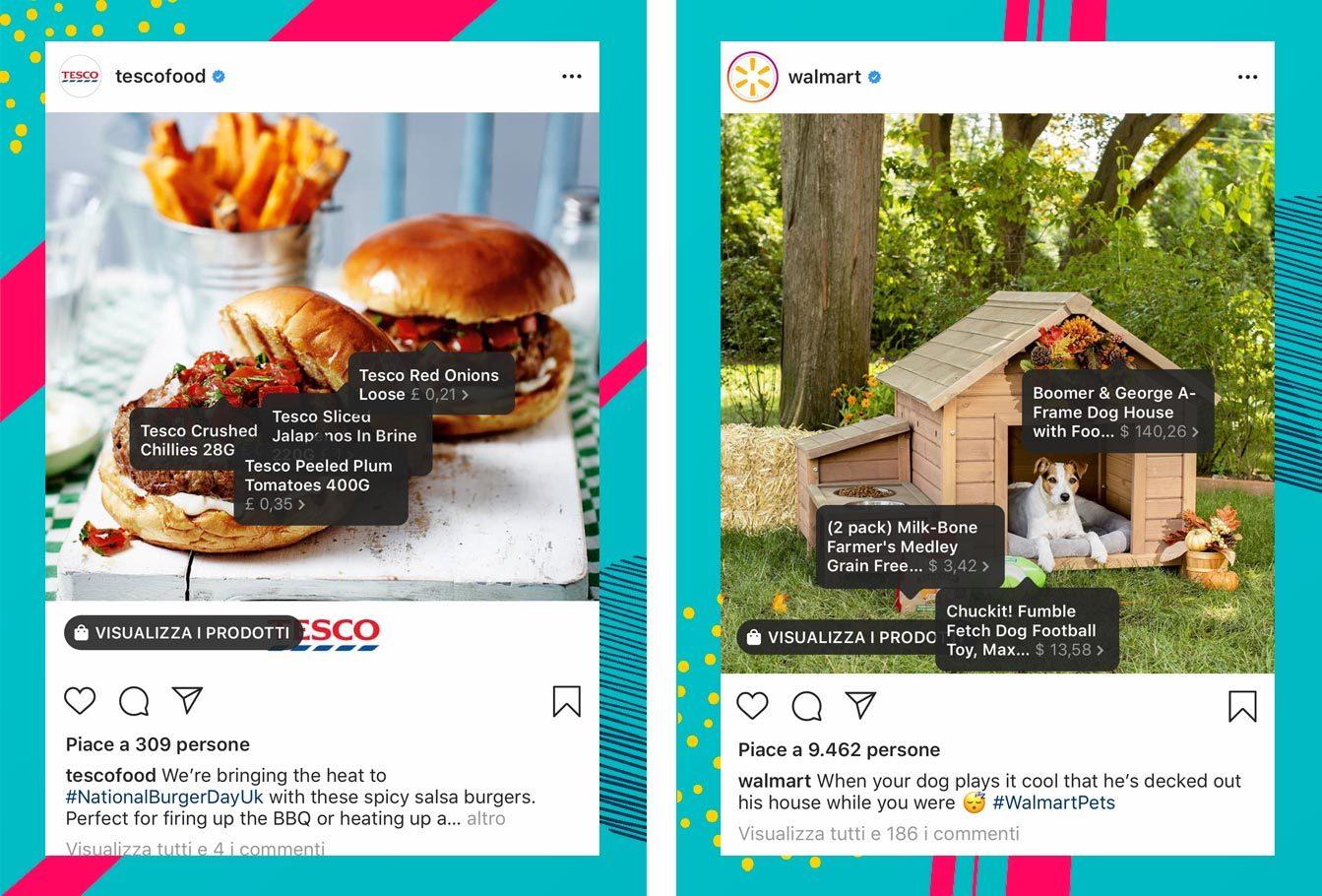 Esempi Instagram Shopping grande distribuzione