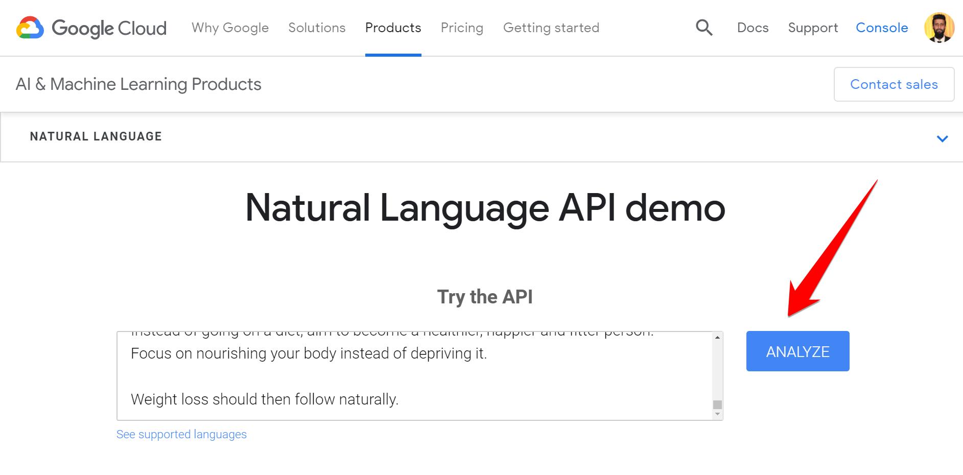 Natural Language API demo analyse
