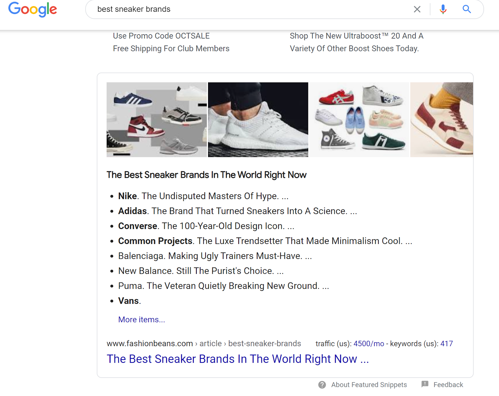 Featured Snippet example screenshot