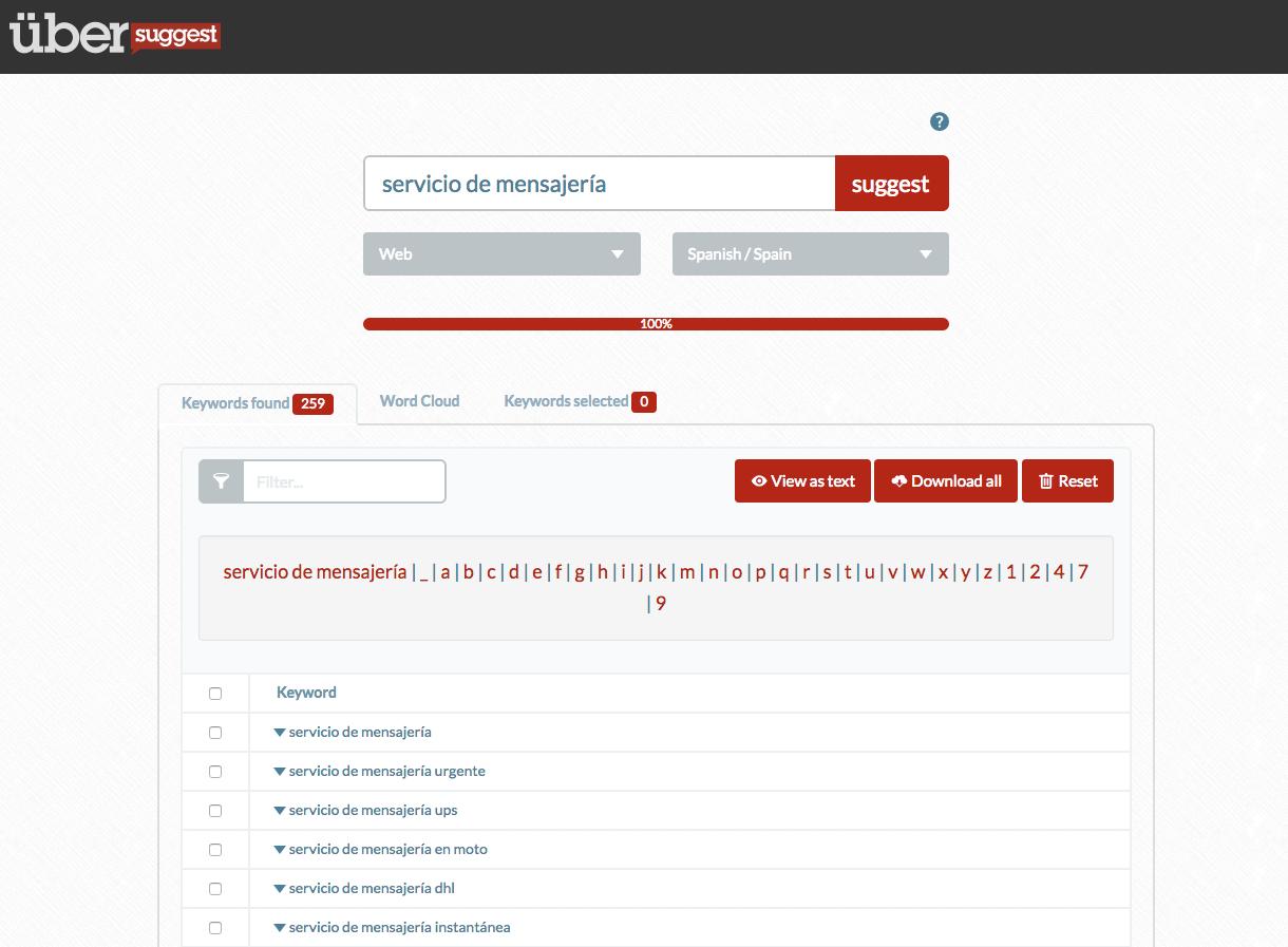 Búsqueda de keywords Long Tail en Übersuggest