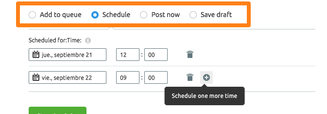 Opción de elegir la fecha de publicación