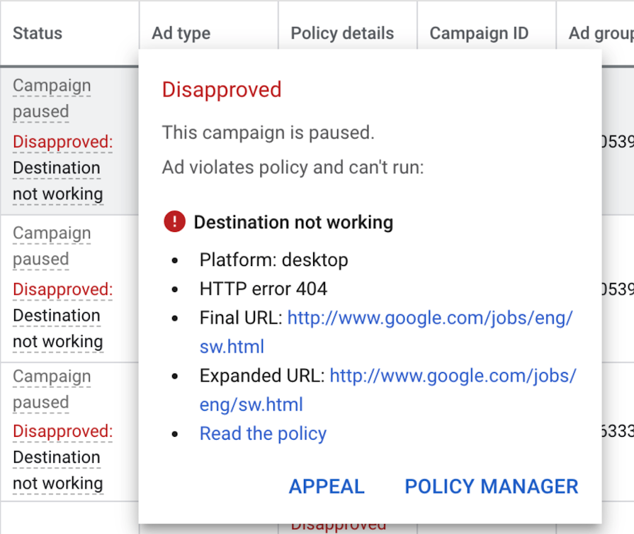 Disapproved Google Ads