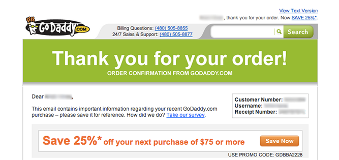 Go-daddy order confirmation example